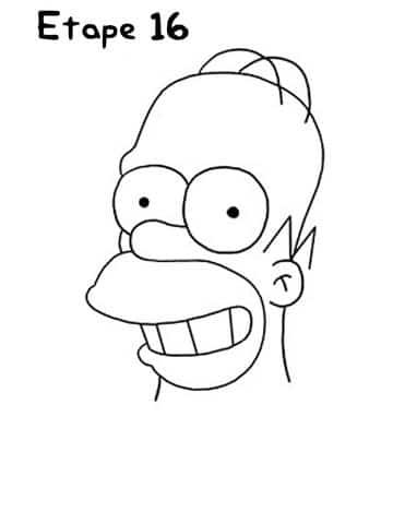 Dessin Simpson étape 16- Photo Homer Simpson