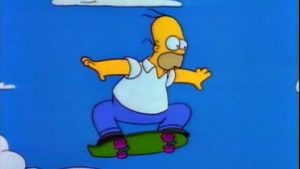 homer sur un skate